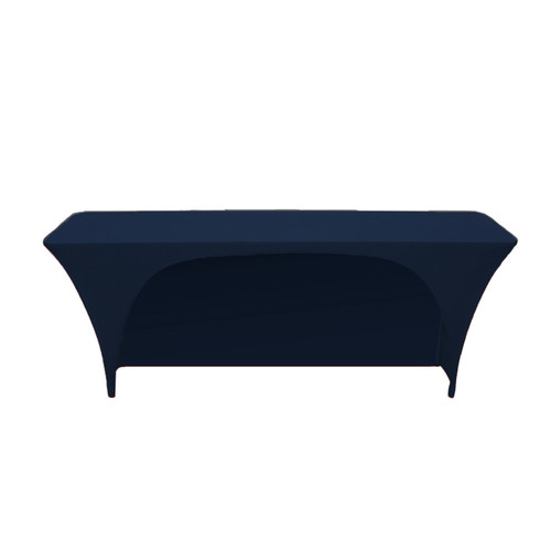 Spandex 8 Ft x 18 Inches Open Back Rectangular Table Cover Navy Blue