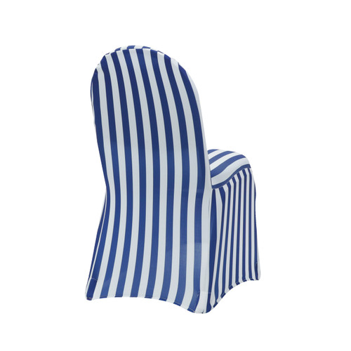 Stretch Spandex Banquet Chair Cover Striped White and Royal Blue