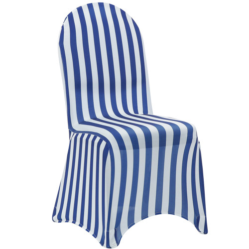 white and royal blue striped chair covers