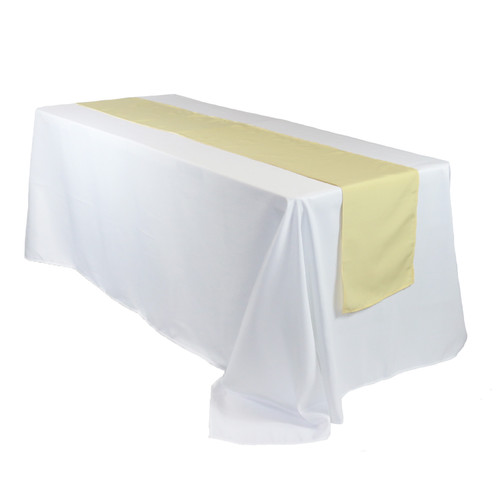 14 x 108 inch Polyester Table Runner Pastel Yellow on rectangular table