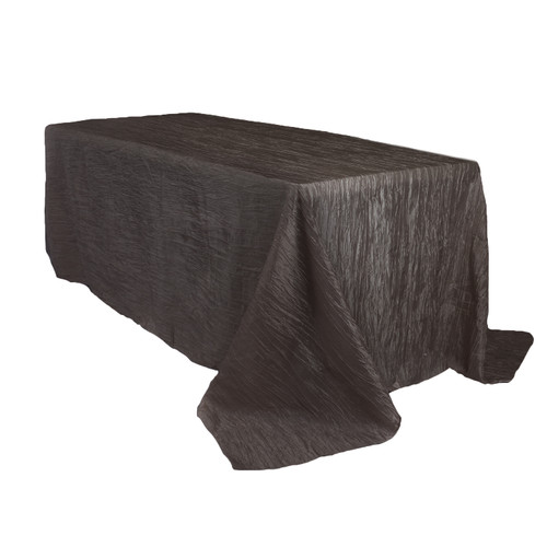 90 x 156 Inch Rectangular Crinkle Taffeta Tablecloth Black