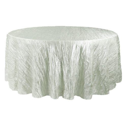 132 Inch Round Crinkle Taffeta Tablecloth Ivory