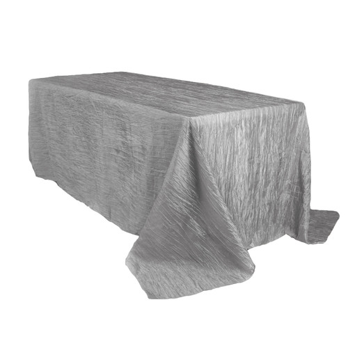 90 x 156 Inch Rectangular Crinkle Taffeta Tablecloth Dark Silver / Platinum