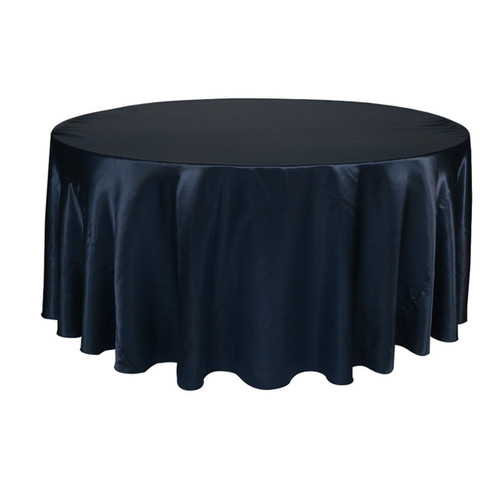 132 Inch Round Satin Tablecloth Navy Blue
