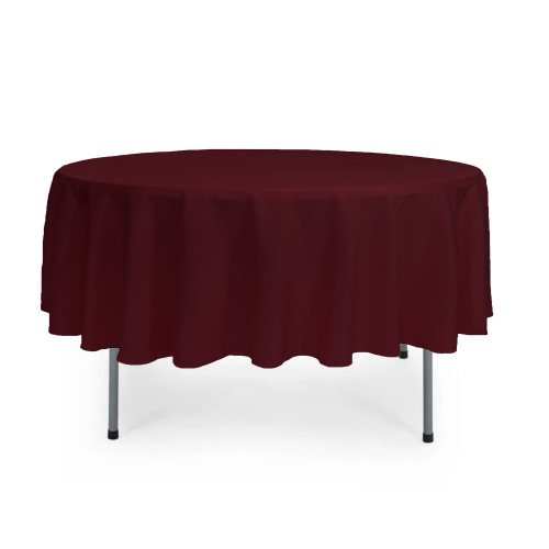 90 Inch Round Polyester Tablecloth Burgundy