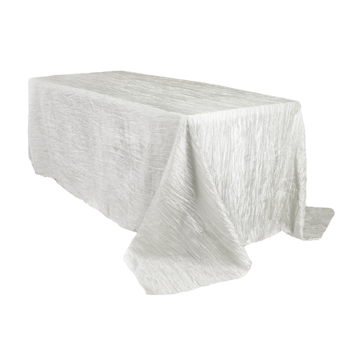 90 x 156 Inch Rectangular Crinkle Taffeta Tablecloth White