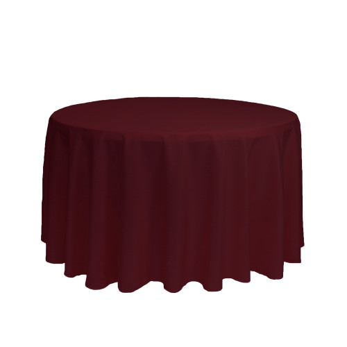 108 inch Round Polyester Tablecloth Burgundy