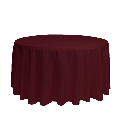 120 Inch Round Polyester Tablecloth Burgundy