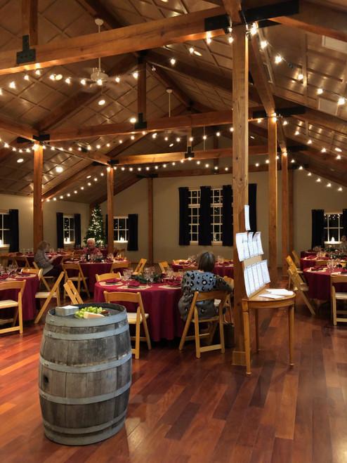 burgundy round tablecloth