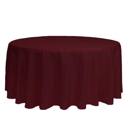 132 inch Round Polyester Tablecloths Burgundy