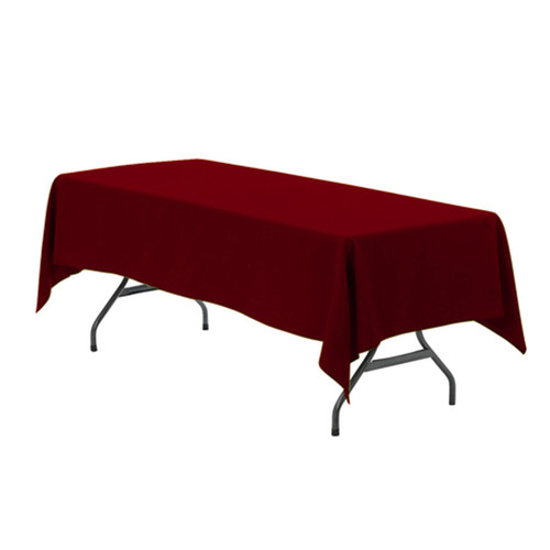 60 x 126 inch Rectangular Polyester Tablecloth Burgundy