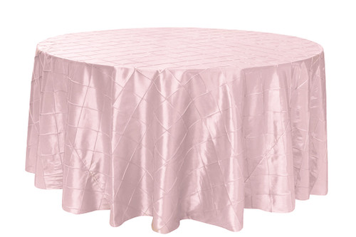 132 inch Pintuck Taffeta Round Tablecloth Blush