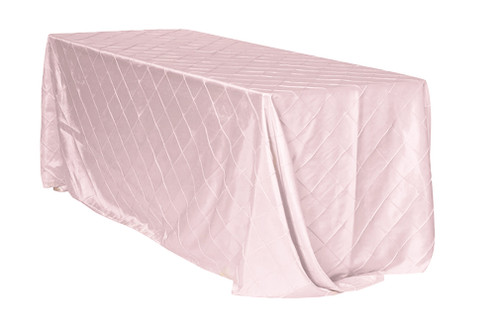 90 x 132 inch Pintuck Taffeta Rectangular Tablecloth Blush
