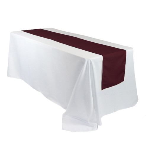 14 x 108 inch Polyester Table Runner Burgundy on rectangular tables