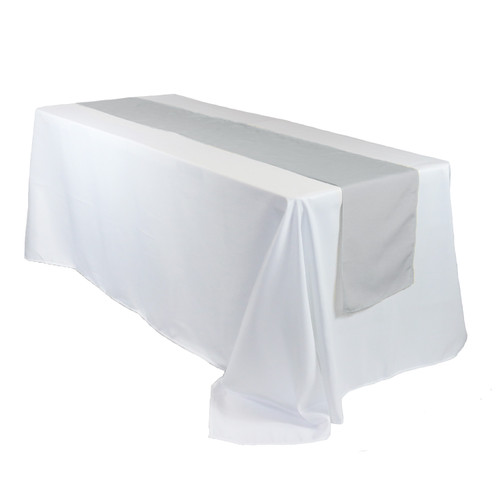 14 x 108 inch Polyester Table Runner Silver on rectangular table
