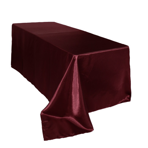 90 x 132 inch Rectangular Satin Tablecloth Burgundy