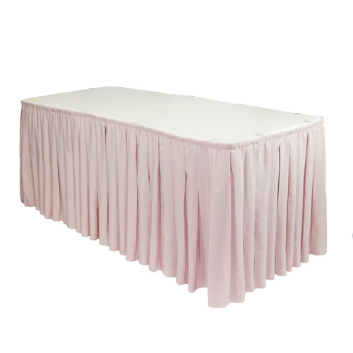 Polyester Pleated Table Skirt Blush