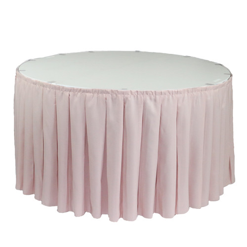 17 ft x 29 Inch Polyester Pleated Table Skirt Blush for round tables