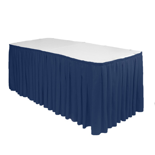 17 ft x 29 inch Polyester Pleated Table Skirt Navy Blue
