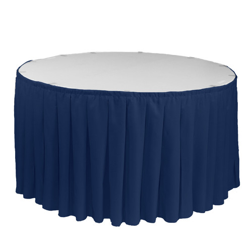 17 ft x 29 inch Polyester Pleated Table Skirt Navy Blue for round tables