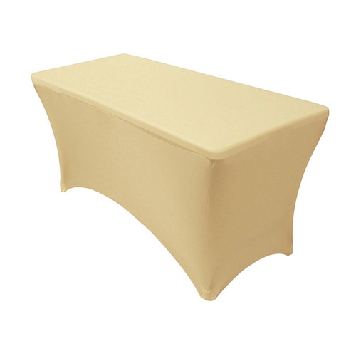 Spandex 4 Ft Rectangular Table Cover Champagne