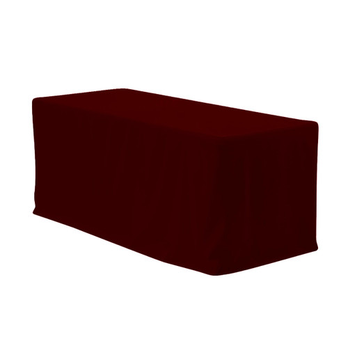 6 ft. Fitted Polyester Tablecloth Rectangular Burgundy