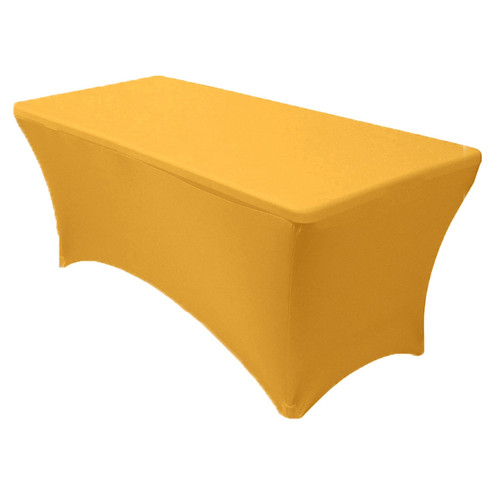 Spandex 6 Ft Rectangular Table Cover Gold