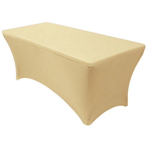 Stretch Spandex 8 ft Rectangular Table Cover Champagne