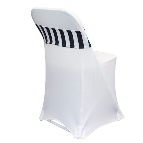 Spandex Chair Sashes Black and white striped