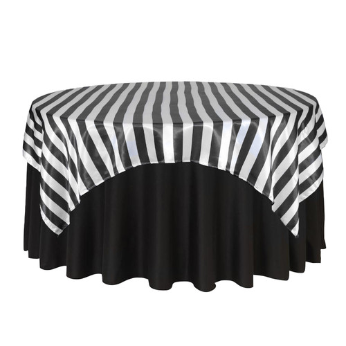 90 inch Square Satin Table Overlay Black/White Striped