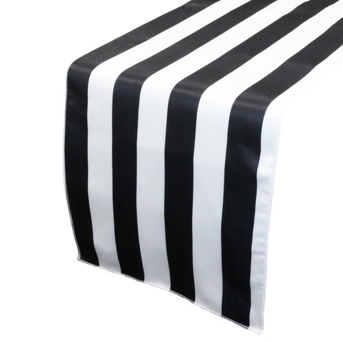 14 x 108 Inch L'amour Satin Table Runner Black and White