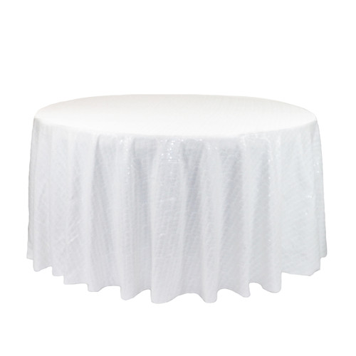 120 Inch Round Glitz Sequin Tablecloth White