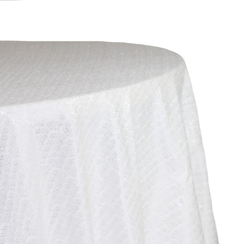 Round Glitz Sequin Tablecloth White