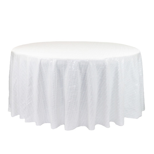132 inch Round Glitz Sequin Tablecloth White