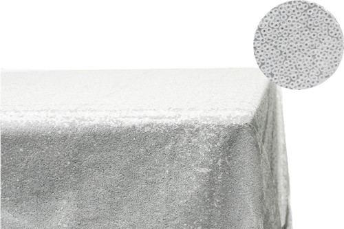 Glitz Sequin Tablecloth White