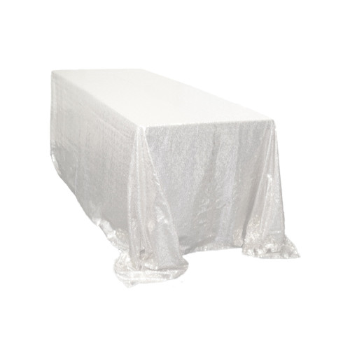 90 x 156 inch Rectangular Glitz Sequin Tablecloth White