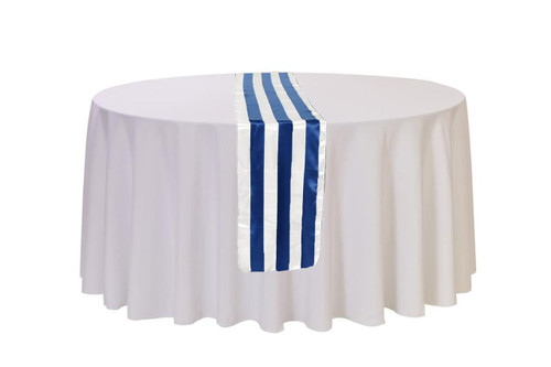 Satin Table Runner Royal Blue/White Striped