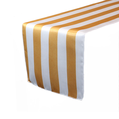 14 x 108 inch Satin Table Runner Gold/White Striped