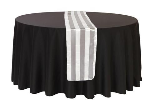 14 x 108 inch Satin Table Runner Gray/White Striped