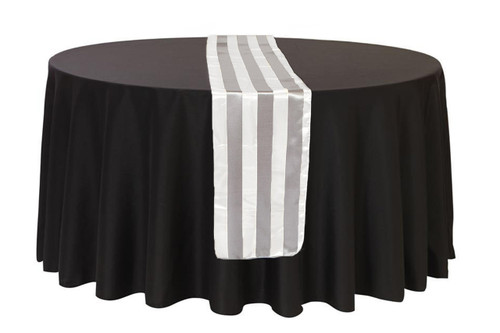 14 x 108 inch Satin Table Runner Gray/White Striped