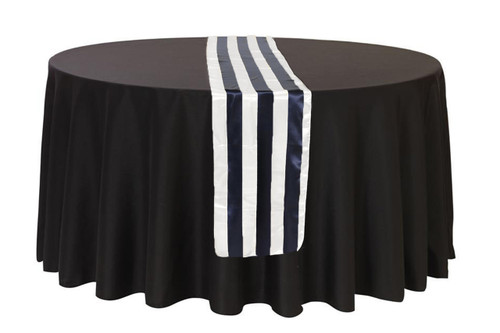 Satin Table Runner Navy Blue/White Striped