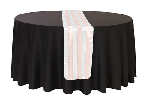 14 x 108 inch Satin Table Runner Blush/White Striped
