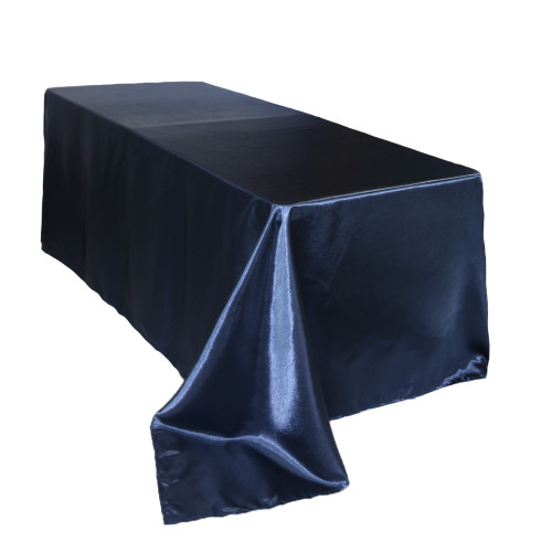 90 x 156 inch Rectangular Satin Tablecloth Navy Blue