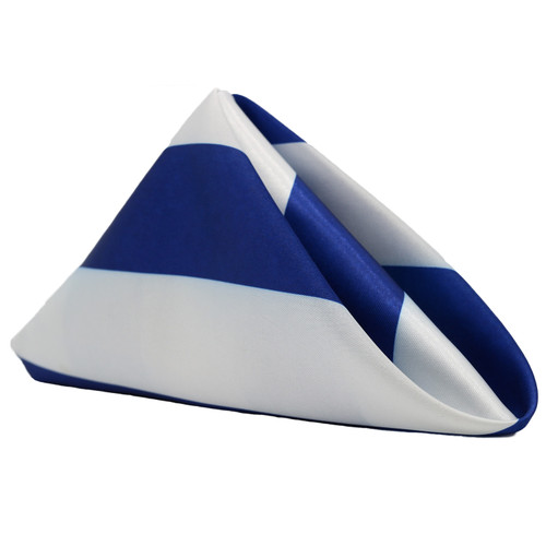 20 inch Satin Cloth Napkins Royal Blue/White Striped