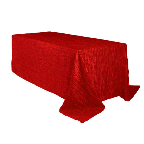 90 x 132 inch Rectangular Crinkle Taffeta Tablecloth Red