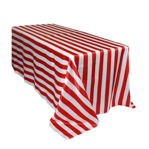 90 x 132 inch Rectangular Satin Tablecloth Red/White Striped