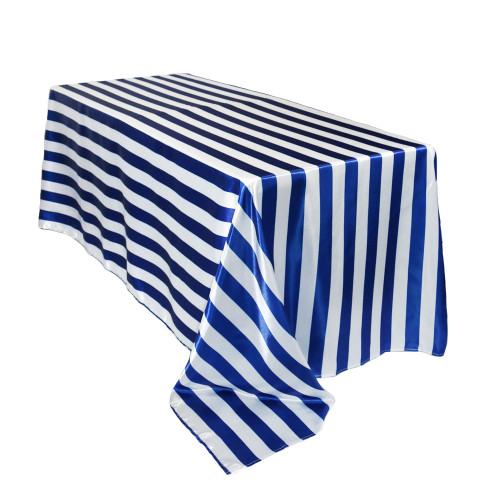 90 x 132 inch Rectangular Satin Tablecloth Royal Blue/White Striped