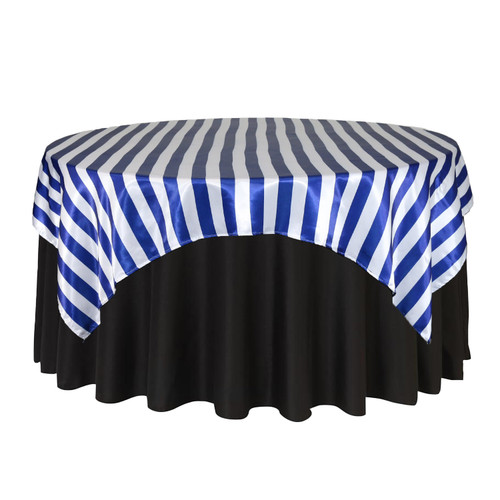 72 inch Square Satin Table Overlay Royal Blue/White Striped