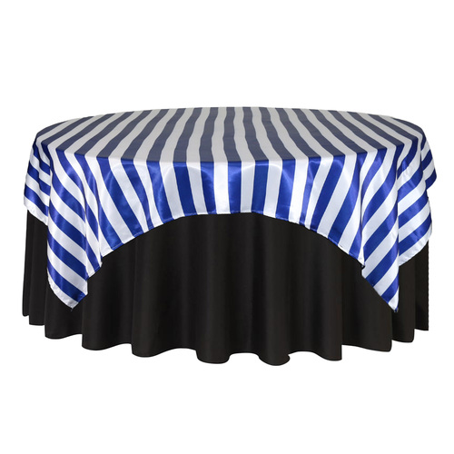 90 inch Square Satin Table Overlay Royal Blue/White Striped