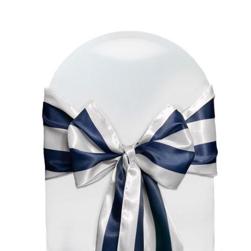 Satin Sashes Navy Blue/White Striped (Pack of 10)